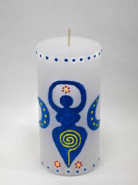 Blaue Göttin mit Spirale und Blumen